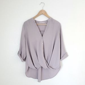 Lush Taupe Twist Front Top